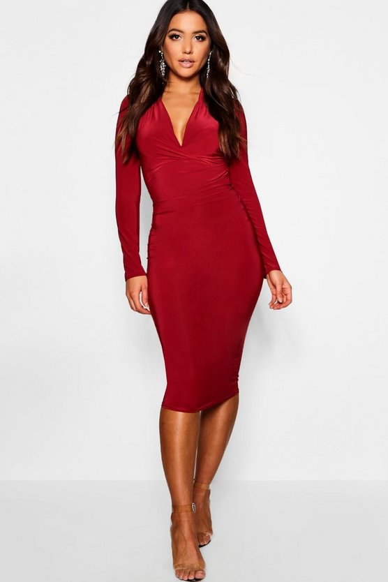 Womens Berry Slinky Plunge Neck Long Sleeve Midi Dress