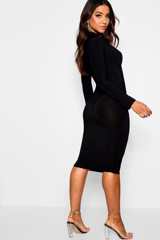 Boohoo Womens Slinky Plunge Neck Long Sleeve Midi Dress  9d4a55dd5