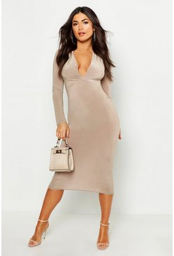 Womens Sand Slinky Plunge Neck Long Sleeve Midi Dress