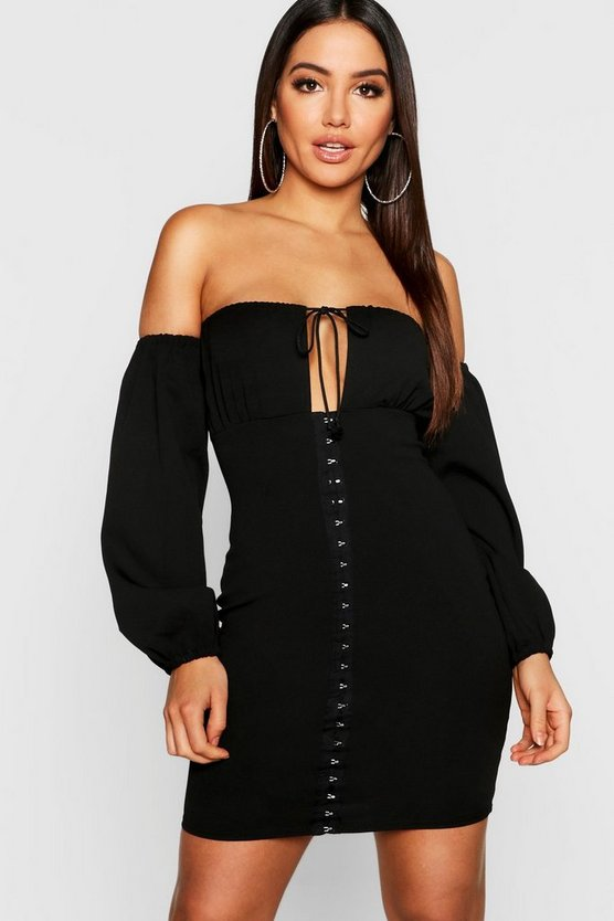 Off The Shoulder Hook And Eye Detail Bodycon Dress