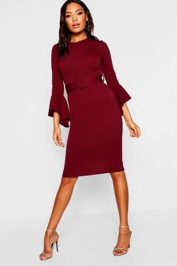 Berry Flared Sleeve Belted Midi Dress