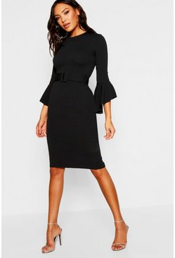 Womens Black Flared Sleeve Belted Midi Dress