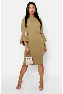 Womens Sage Flared Sleeve Belted Midi Dress