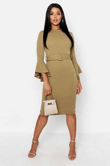 Sage Flared Sleeve Belted Midi Dress