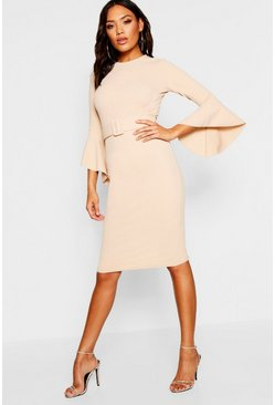 Womens Stone Flared Sleeve Belted Midi Dress