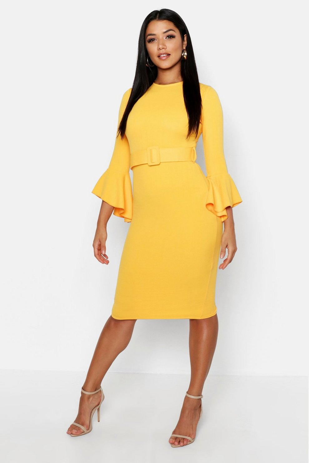 19b0509ca5d Womens Turmeric Flared Sleeve Belted Midi Dress. Hover to zoom