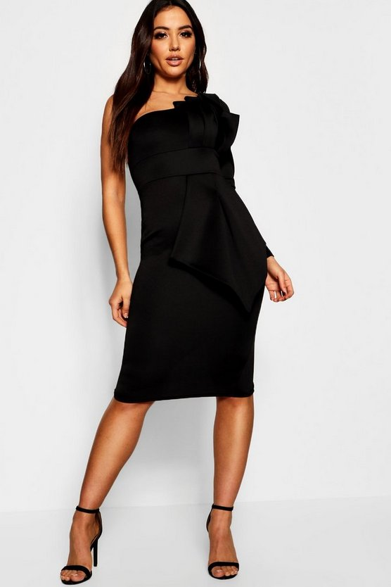 Womens Black One Shoulder Pleat Detail Midi Dress