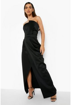 Womens Black Bandeau Wrap Detail Maxi Dress