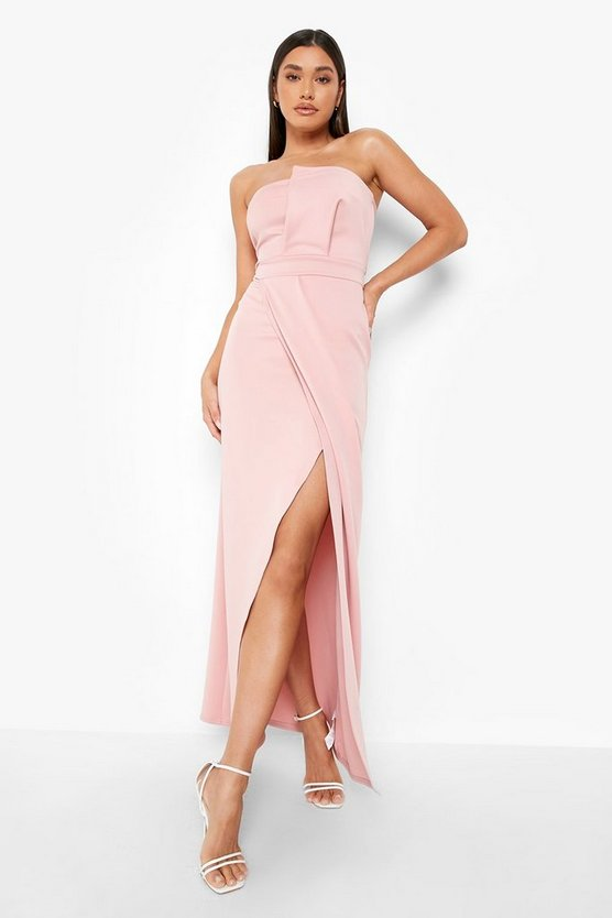 Blush Bandeau Wrap Detail Split Maxi Bridesmaid Dress