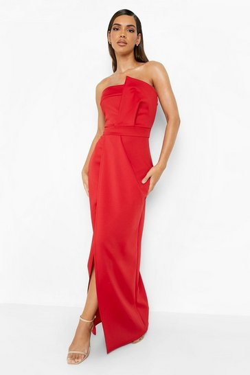 Red Bandeau Wrap Detail Split Maxi Bridesmaid Dress