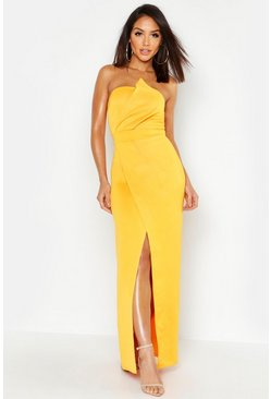 Turmeric Bandeau Wrap Detail Split Maxi Bridesmaid Dress