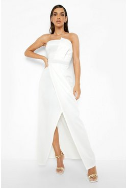 White Bandeau Wrap Detail Split Maxi Bridesmaid Dress