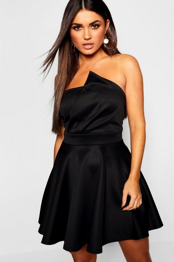 Womens Black Wrap Detail Bandeau Skater Dress