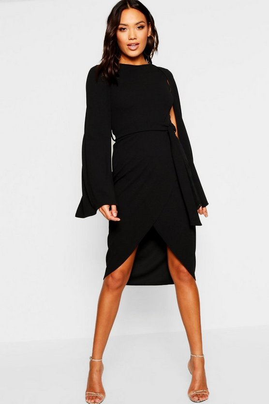 Womens Black Cape Sleeve Tie Waist Wrap Midi Dress