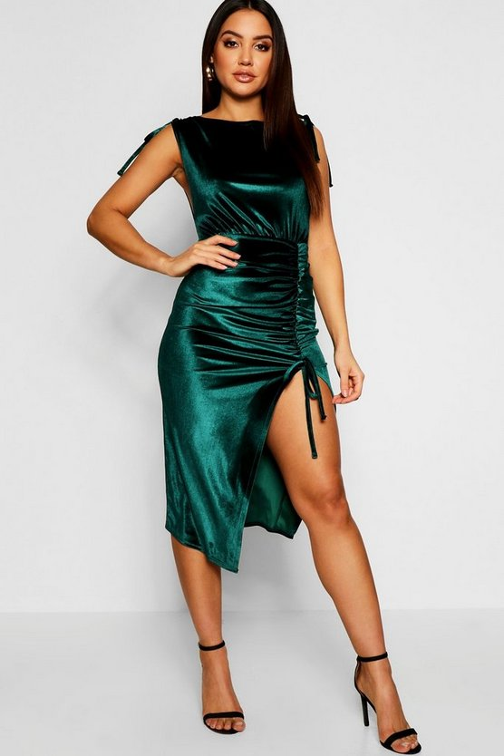 Velvet Ruched Detail Thigh Split Midi Dress