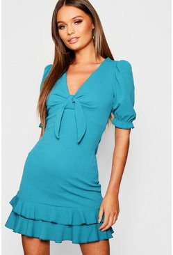 Womens Teal Puff Sleeve Tie Front Ruffle Hem Bodycon Dress