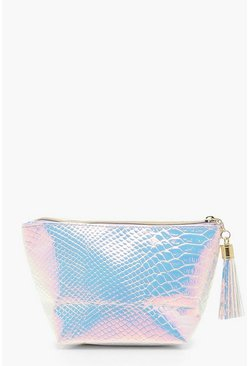 Womens Pink Holographic Mermaid Large Makeup Bag