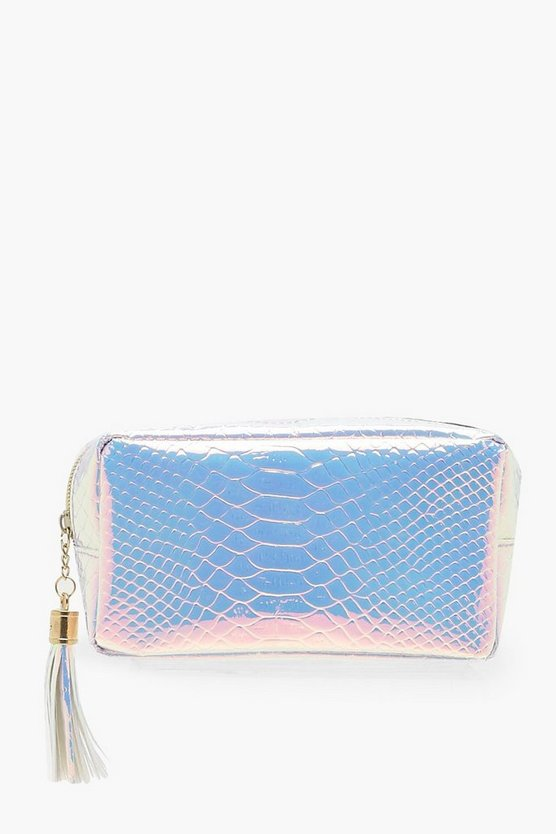 Womens Pink Holographic Mermaid Small Makeup Bag