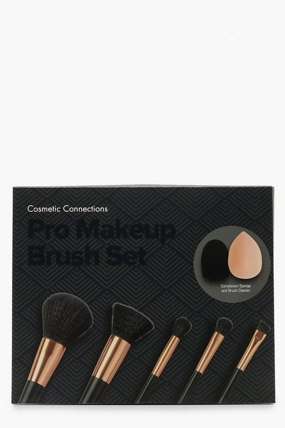 Womens Black Pro Makeup Brush Set