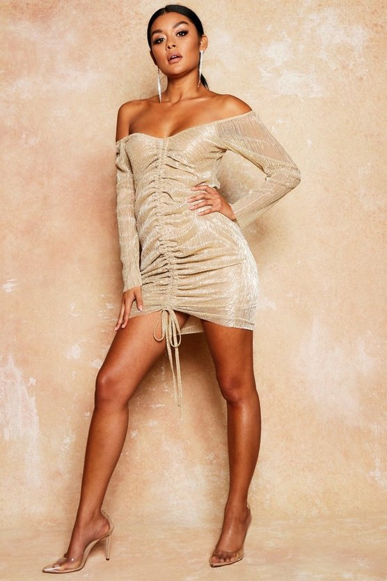 Metallic Mesh Ruched Dress