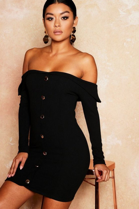 Womens Black Gold Button Detail Bodycon Mini Dress