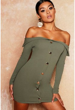 Womens Khaki Gold Button Detail Bodycon Mini Dress