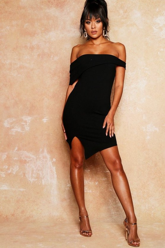 Womens Black Asymmetric Fold Over Bodycon Dress