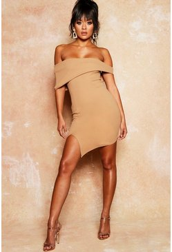 Womens Camel Asymmetric Fold Over Bodycon Dress