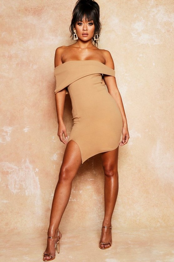 Asymmetric Fold Over Bodycon Dress