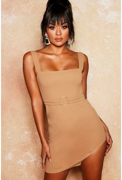 Womens Camel Extreme Split Ring Detail Bodycon Dress