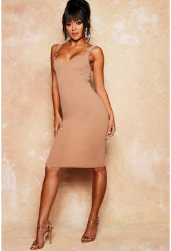Womens Gold Ring Cupped Midi Crepe Dress