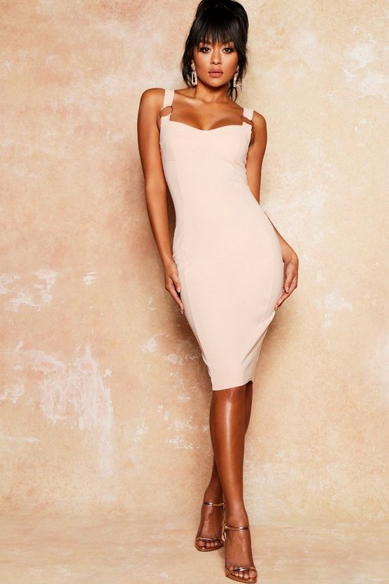 Gold Ring Cupped Midi Crepe Dress