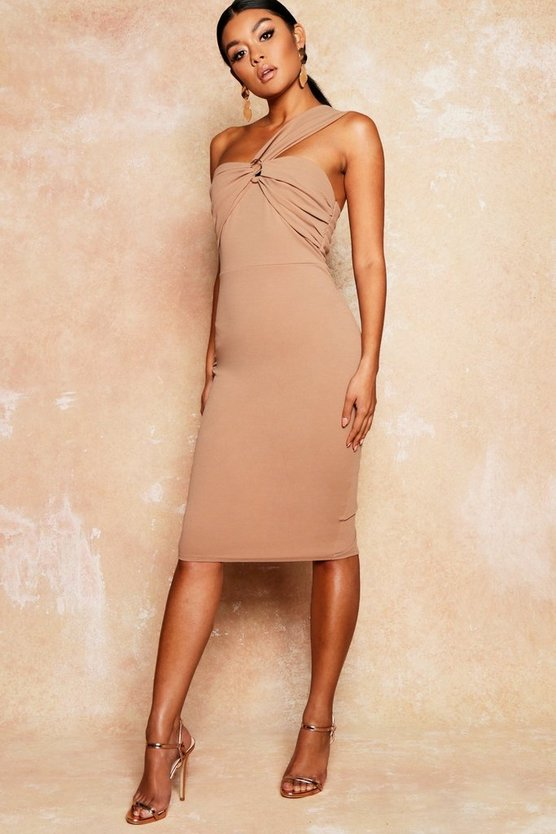 Drape Detail Bodycon Midi Dress