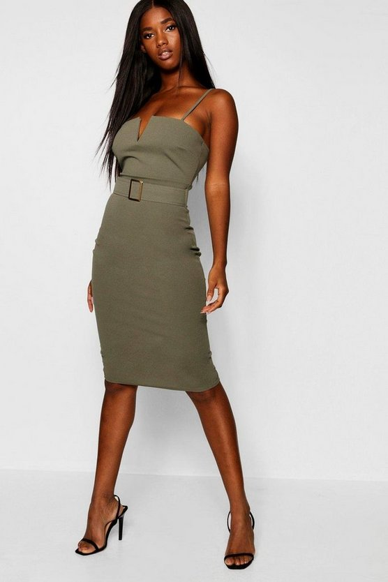 Gold Buckle V Bar Bodycon Midi Dress