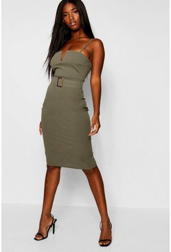 Womens Khaki Gold Buckle V Bar Bodycon Midi Dress