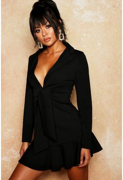 Womens Black Bodycon Blazer Frill Hem Dress