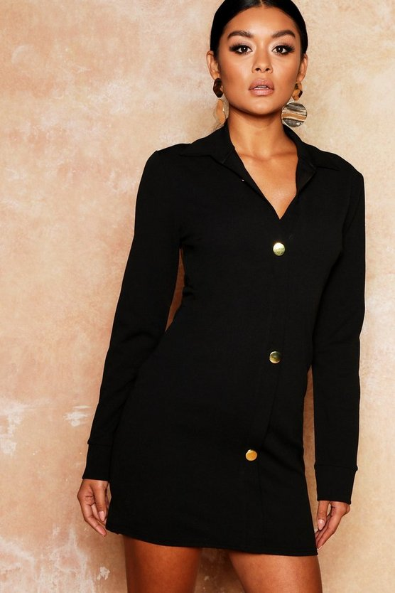 Gold Button Backless Bodycon Shirt Dress