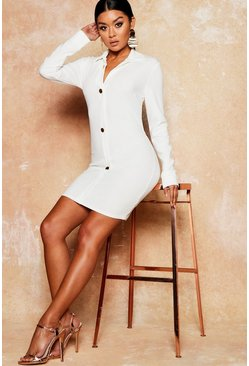 Womens White Gold Button Backless Bodycon Shirt Dress