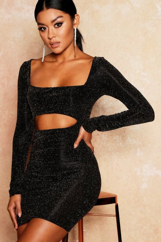 Glitter Cut Out Detail Bodycon Dress