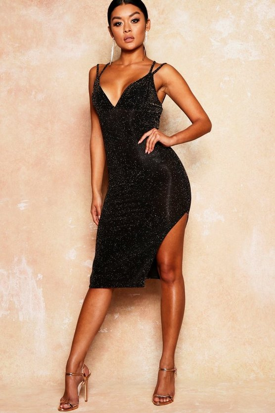 Womens Black Glitter Strappy Side Split Midi Dress