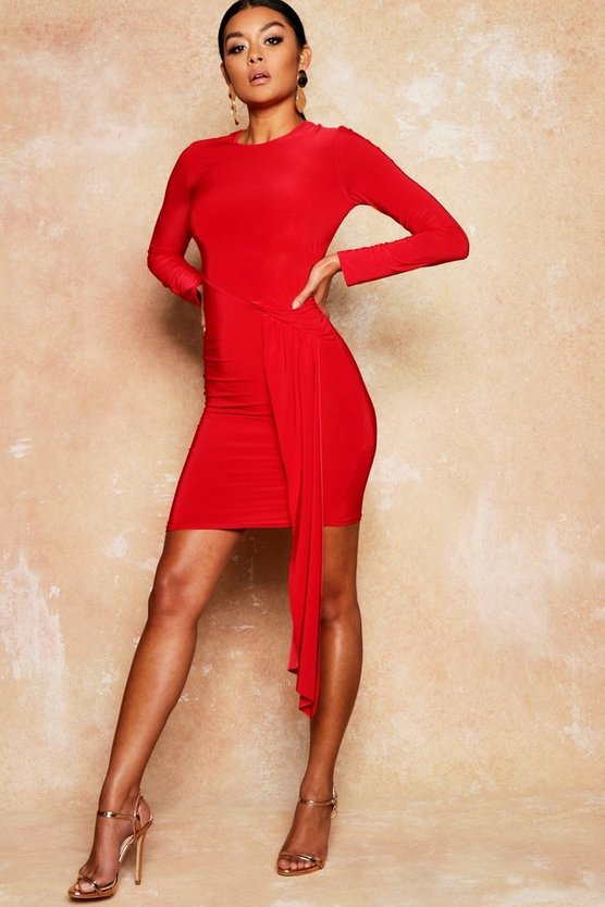 Drape Front Ruched Slinky Bodycon Mini Dress