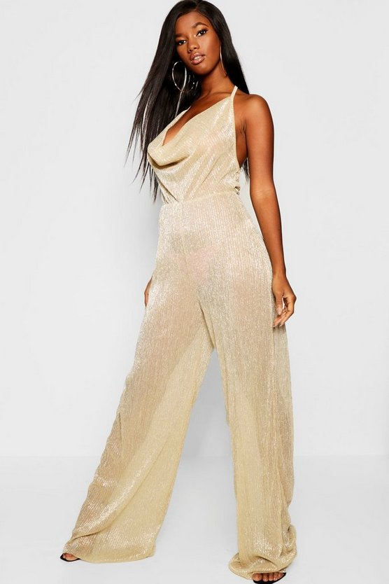 Metallic Plisse Cowl Neck Jumpsuit