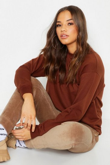 Womens Chocolate Fit Oversized Gym Sweater