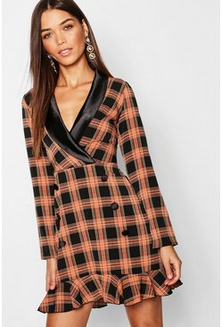 Womens Black Check Plunge Frill Hem Blazer Dress