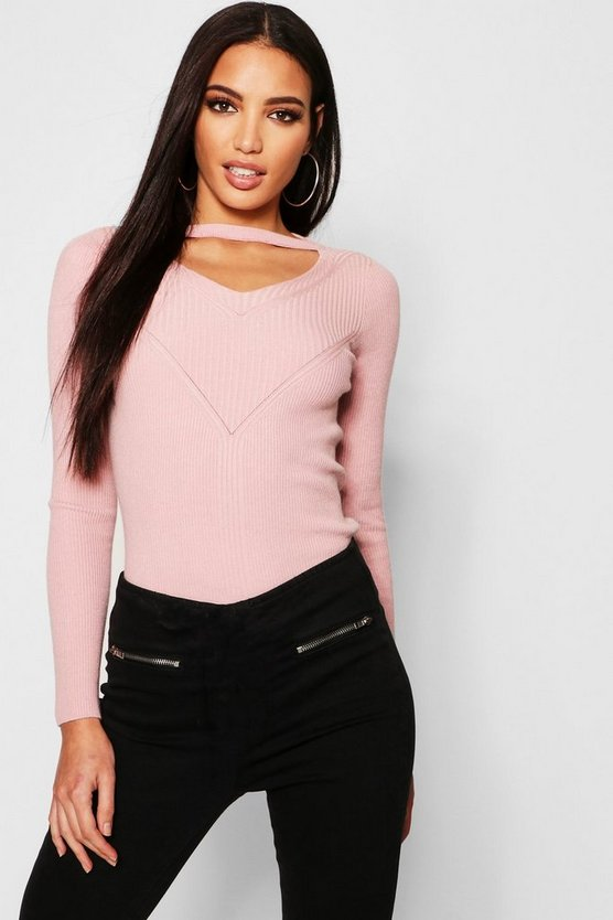 Cut Out V Neck Jumper