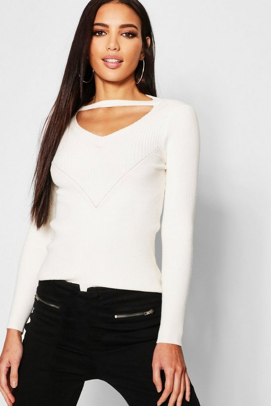 Womens White Cut Out V Neck Jumper