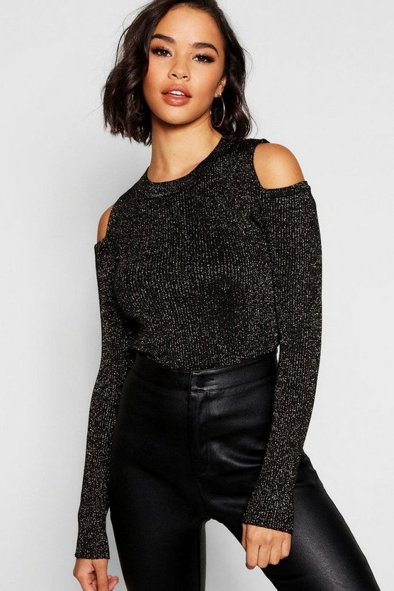 Womens Black Round Neck Cold Shoulder Jumper