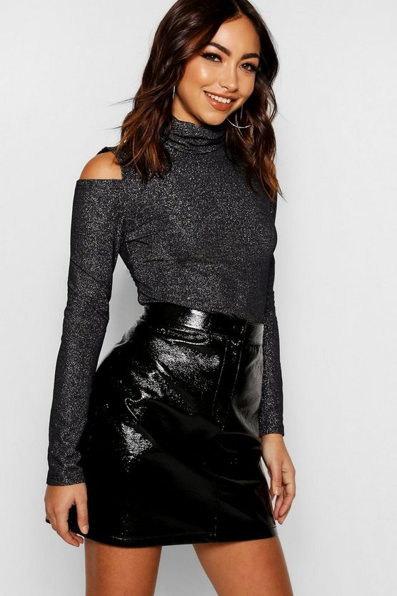 Silver Roll Neck Metallic Cold Shoulder Jumper