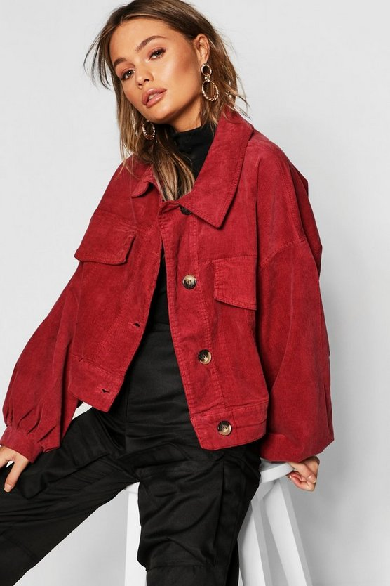 Womens Berry Cord Oversize Baloon Sleeve Trucker Jacket