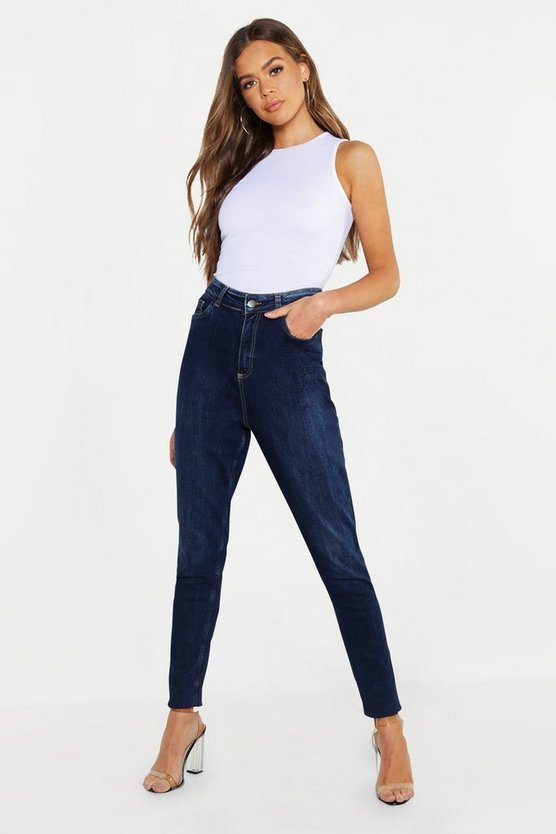 Dark blue High Waist Marble Wash Stretch Skinny Jeans